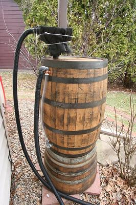 Profile view of my rainbarrel setup